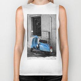 Blue Vespa in Venice Black and White Color Splash Photography Biker Tank