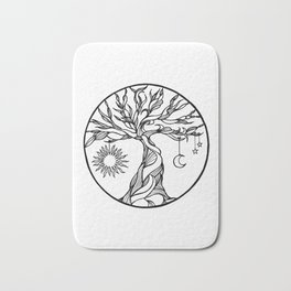 black and white tree of life with hanging sun, moon and stars I Bath Mat