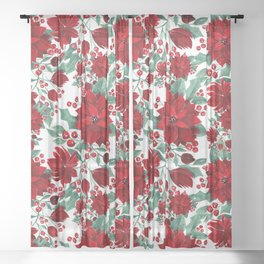 Merry Red Poinsettia Flowers Ivy Leaves Watercolor Sheer Curtain