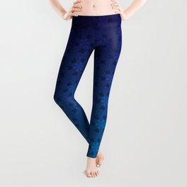 Floral Pattern of Abstract Pinwheels in Blue Gradient Ombré Leggings