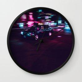 Japanese Taxi Long Exposure| Neon Cyberpunk Aesthetic Wall Clock