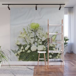 Green and Cream Flowers Wall Mural