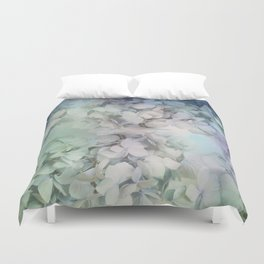 Artistic Hydrangea flowers in soft blue and purple Duvet Cover