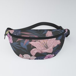 Dark Floral Tropical Sensual Garden Pink Hibiscus Floral Pattern Fanny Pack