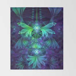 The Clockwork Kite Wings of a Blue-Green Dragonfly Throw Blanket