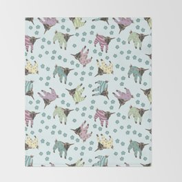 Pajama'd Baby Goats - Blue Throw Blanket