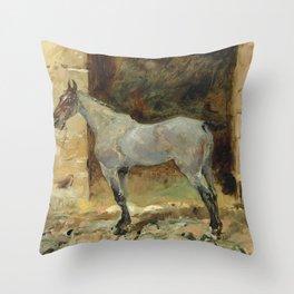 """Henri de Toulouse-Lautrec """"Cheval attaché"""" Throw Pillow"""
