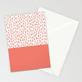 Triangles Coral Red Stationery Cards