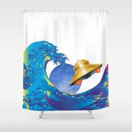 Hokusai Rainbow, UFO & the Moon  Shower Curtain