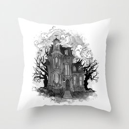 Inktober Haunted House Throw Pillow