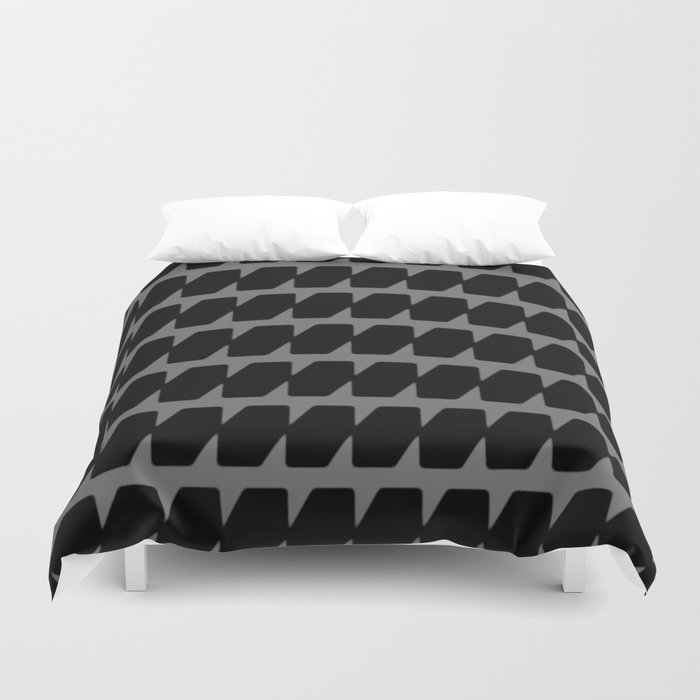 Black Dog Tooth Design Duvet Cover