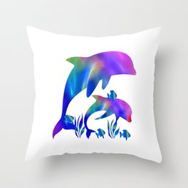 Rainbow Dolphins swimming in the sea Throw Pillow