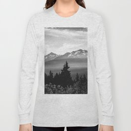 Morning in the Mountains Black and White Long Sleeve T-shirt