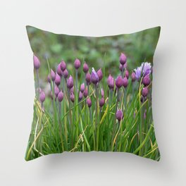 Flowers-Purple Flowers-Chives Throw Pillow