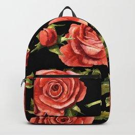 Vintage Red Roses On Black Backpack