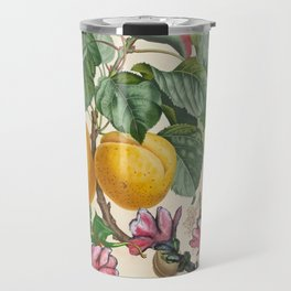 Apricot And Flowers With Dragons Travel Mug