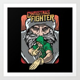 Christmas Fighter Brawler Gaming Design Art Print