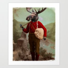 Lumberjack Marvin Moose Art Print