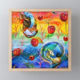 Abstract unicorns mistic design Framed Mini Art Print