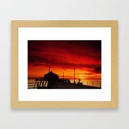 A Huntington Beach Pier Sunset Framed Art Print
