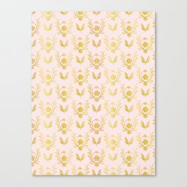 Luxe Rose Gold Foil Floral Lattice Seamless Vector Pattern, Drawn Damask Canvas Print