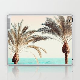 Modern California Vibes pink sky blue seascape tropical palm tree beach photography Laptop & iPad Skin
