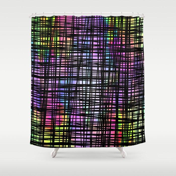 DP035 5 Colorful Striped Shower Curtain By Duckyrubin