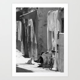 Man and Cat Marrakesh Art Print