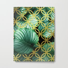 Leaves Geometric Modern Illustration Metal Print