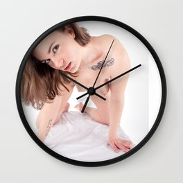 5468-KMA Sensual Brown Eyed Nude Woman On All Fours Wall Clock