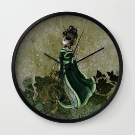 Gold Gilded Leda: A Bollywood Geisha Wall Clock