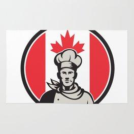 Canadian Chef Baker Canada Flag Icon Rug