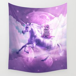 Kitty Cat Riding On Flying Space Galaxy Unicorn Wall Tapestry