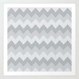 Gray Chevron Stripe Pattern Art Print