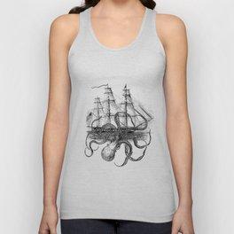 Octopus Kraken attacking Ship Antique Almanac Paper Unisex Tank Top