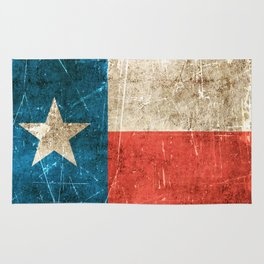 Vintage Aged and Scratched Texas Flag Rug