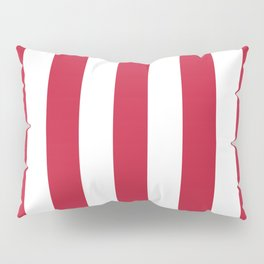 Cardinal fuchsia - solid color - white vertical lines pattern Pillow Sham