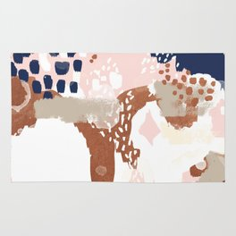 Sonia - rose gold navy copper modern abstract rosegold trendy pattern cell phone accessories Rug