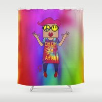 yoga Shower Curtains featuring YOGA by Riot Clothing