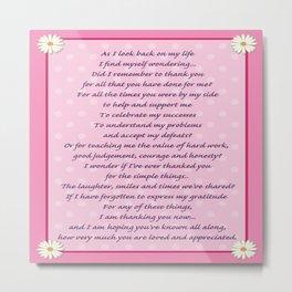 Mother's Day Poem Metal Print