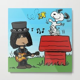 Snoopy and Slash Metal Print