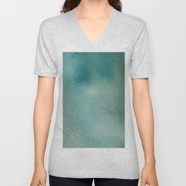 Hand painted blue teal abstract watercolor paint Unisex V-Neck