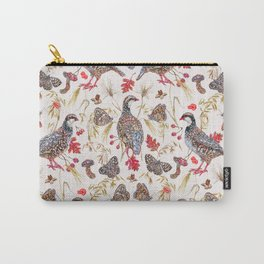 Foraging Partridges - Eggshell Carry-All Pouch
