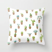 cacti Throw Pillows featuring Cacti by Yardia