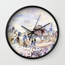 Thomas Hennell - Wizernes - Civilians Recovering Furniture from the Debris Wall Clock