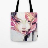 decorative Tote Bags featuring Bauhinia by Anna Dittmann