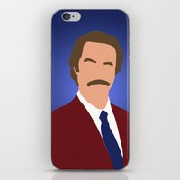 anchorman iPhone & iPod Skins featuring Ron Burgundy - Anchorman by Tom Storrer