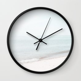 Soft Mint and Beige Abstract Seascape No 1 Wall Clock