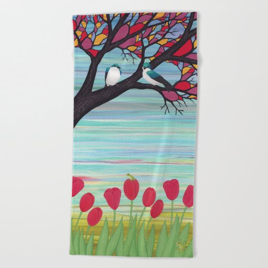 tree swallows in the stained glass tree with tulips and frogs Beach Towel