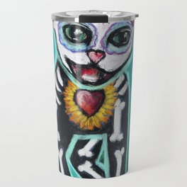 Turquoise Day of the Dead Cat Travel Mug